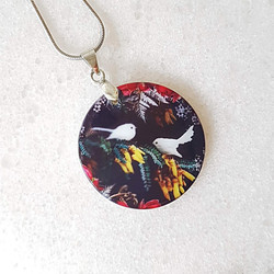 White fantail necklace 27x27mm pendant size