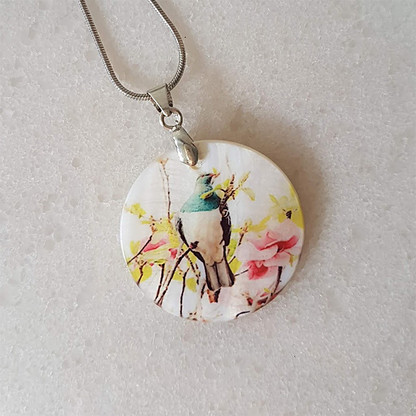 Kereru in Magnolia necklace 27x27mm pendant size
