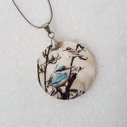 Kingfisher in Flax pendant necklace
