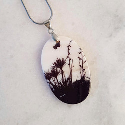 Flax, Cabbage Tree and Tui bird necklace pendant.