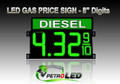 "8"" DIESEL Gas Price LED Sign - Green LEDs with 3 Large Digits & fraction digits - Top Section lighted - 5 Year Warranty"