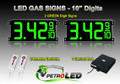 "10 Inch Digits - LED Gas sign package - 2 Green Digital Price Gasoline LED SIGNS - Complete Package w/ RF Remote Control - 28""x13"""