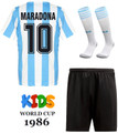 Kids Argentina 1986 World Cup Home Football Kit With Free Name & Number