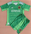 Kids LA Galaxy 2021-22 Green GK Football Kit Soccer Uniform With Free Name & Number