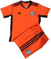 Kids Mexico 2021-22 Orange Goalkeeper Football Soccer Kit With Free Name&Number