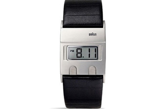 BRAUN MENS SQUARE STAINLESS STEEL WATCH