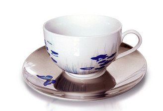 CAMOUFLAGE CUP AND SAUCER- BUTTERFLY