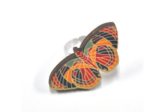 Polli Wooden Butterfly Ring - rainbow