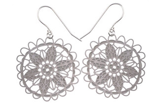 POLLI STAINLESS STEEL LACE EARRINGS (large)