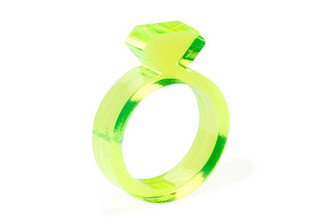 "Diamond Acrylic Ring - Flourescent Yellow 1/4"" design by AMT"