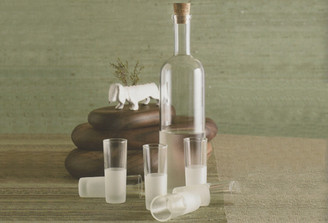 FROSTED APERITIF GLASSES AND BOTTLE