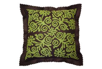 Sandor Applique Siófok pillow - Moss on Chocolate