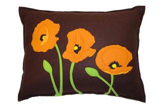 Sandor Applique Poppy Trio pillow - Orange on Chocolate