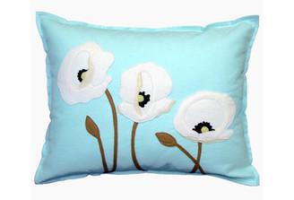 Sandor Applique Poppy Trio pillow - White on Glacier