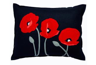 Sandor Applique Poppy Trio pillow - Red on Black