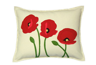 Sandor Applique Poppy Trio pillow - Red and Coral on Shell White