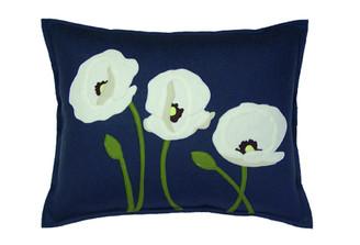 Sandor Applique Poppy Trio pillow - White, Shell White, Moss on Slate