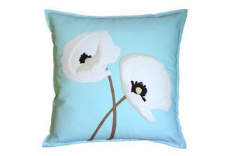 Sandor Applique Poppy Lovers pillow - White, Shell White, Latte on Glacier