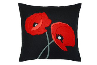 Sandor Applique Poppy Lovers pillow - Red, Coral, Stone Grey on Black