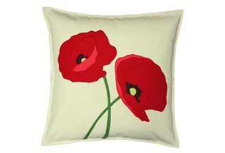 Sandor Applique Poppy Lovers pillow - Red, Coral, Tarragon on Shell White