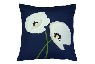Sandor Applique Poppy Lovers pillow - White, Shell White, Moss on Slate Blue