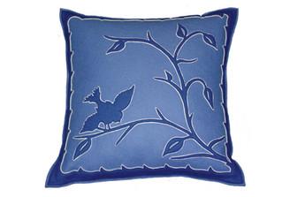 Sandor Applique Hollóháza Bird pillow - Delft Blue on Blue w/ White accent