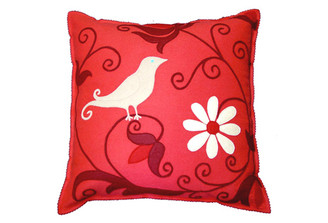 Sandor Applique Curly Bird pillow - Cranberry, Red, Shell White on Coral