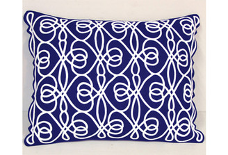 Sandor Applique Entwined Pillow, White applique on Navy