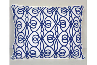 Sandor Applique Entwined Pillow, Navy Applique on White