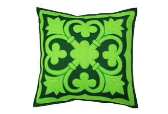 Sandor Applique Old World pillow - Lime on Sherwood w/ Green accent