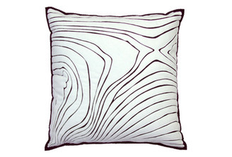 Sandor Applique Rosewood pillow - White on Chocolate
