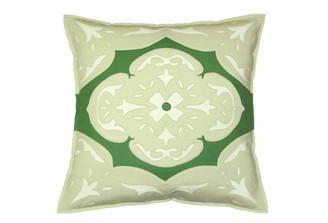 Sandor Applique Madieira Pillow - Shell White, Tarragon, on White