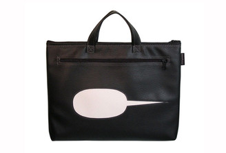 SNAP WORD BUBBLE LAPTOP BAG IN BLACK WITH PERFORATED WHITE