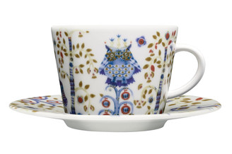 (Set of 4) IITTALA TAIKA COFFEE/TEA CUP WITH SAUCER 11.75 oz., WHITE