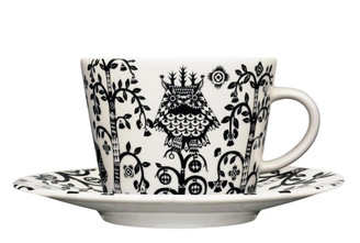 (Set of 4) IITTALA TAIKA COFFEE/TEA CUP WITH SAUCER 11.75 oz., BLACK