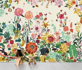 SCENIC WALLPAPER- Jardin crème designed by Nathalie Lété