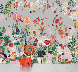 SCENIC WALLPAPER- Jardin gris designed by Nathalie Lété