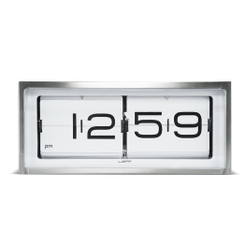 LEFF Brick Wall/Desk Clock with White Dial in Stainless Steel