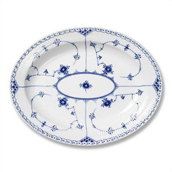 Royal Copenhagen Blue Fluted Half Lace Oval Platter Large 14.25 in