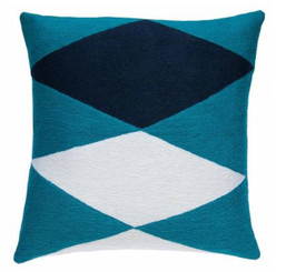JUDY ROSS WOOL PILLOW- ACE (peacock/cream/navy)