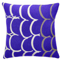 JUDY ROSS WOOL PILLOW- BANGLE (periwinkle/cream/oyster)