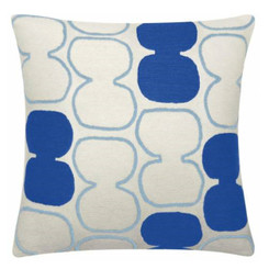 JUDY ROSS WOOL PILLOW- TABLA OUTLINED (cream/powder blue/marine)