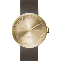 LEFF AMSTERDAM TUBE WATCH D42 BRASS/BROWN STRAP