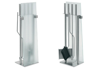 CHIMO 5 PC. FIREPLACE SET GLASS FRONT design by Blomus