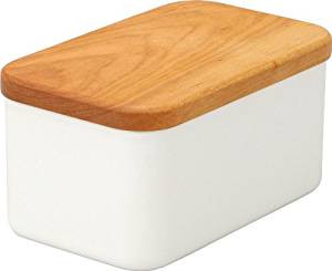 WHITE ENAMEL BUTTER CASE (DEEP) WITH CHERRY WOOD LID by Noda Horo