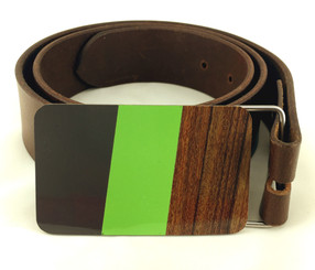 BELT BUCKLE (DK. GREY/GREEN/WOOD GRAIN) by Handmade in Texas