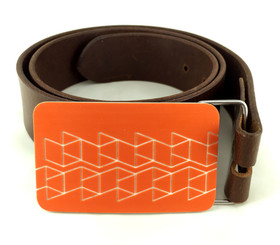 BELT BUCKLE (ORANGE) by Handmade in Texas