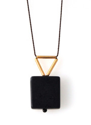 BLACKSTONE WITH GOLD-PLATED BRASS NECKLACE ON BROWN SILK