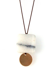 MARBLE AND GOLD-FILLED DISK NECKLACE ON BROWN SILK