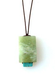 GREEN SERPENTINE, BLUE MAGNESITE NECKLACE ON BROWN SILK